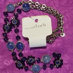 NWT Charming Charlie blue bead necklace 34""